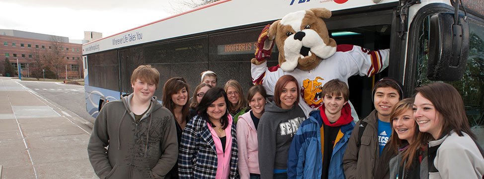 Visiting Students and Brutus the Bulldog