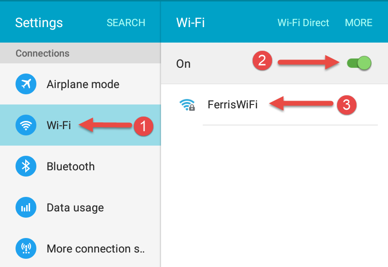 Connecting an Android Device to Ferris WiFi