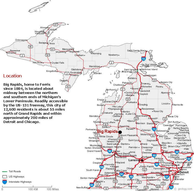 Michigan State Map with Cities Listed